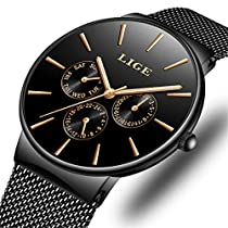 Mens Watches Ultra Thin Waterproof Casual Fashion Quartz Watch for Boys with Blue Stainless Steel Milanese Mesh Band Wristwatch …