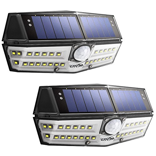 Litom Solar Lights Outdoor, 4th Generation 30 LED Motion Sen