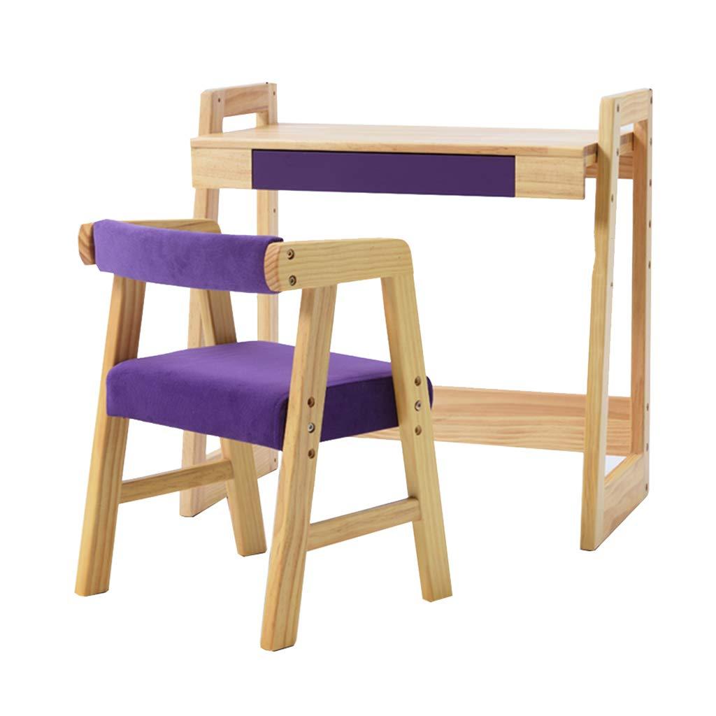 研究用テーブルとチェアソリッドウッドの机 家庭の学生の机と椅子のセット ベッドルームの机と椅子を上下させることができます (Color : Purple, Size : 60 * 33.5 * 65cm) B07JVPDYW3 Purple 60*33.5*65cm