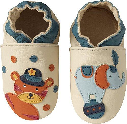 Tichoups chaussons bébé cuir souple simon et titouan le cirque