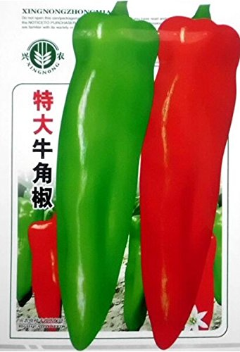 2018 Hot Sale Heirloom Long Giant Ox Horn Sweet Pepper Organic Seeds, Original Pack, 100 Seeds/Pack, Green Red Vegetables E3106