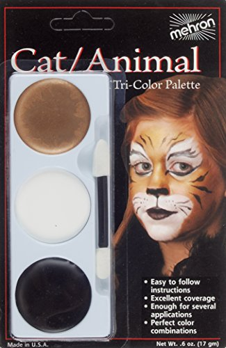 Mehron Makeup Tri-Color Halloween Makeup Kit Palette, CAT– (Halloween Costume Cat Makeup)