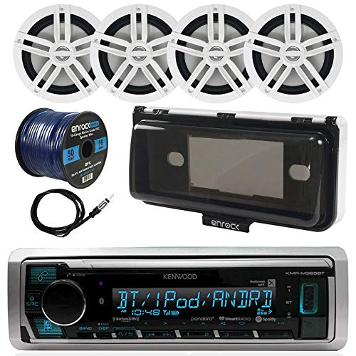 Kenwood KMR-M322BT In-Dash Marine Boat Audio Bluetooth USB Receiver w/ Waterproof Protective Cover Bundle Combo  4x White Coaxial Speakers, Radio Antenna, 16g 50ft Speaker Wire