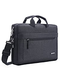 Mosiso Messenger Laptop Shoulder Bag for 15-15.6 Inch 2018/2017/2016 new MacBook Pro, MacBook Pro, Notebook, Compatible with 14 Inch Ultrabook, Polyester Briefcase with Adjustable Depth at Bottom, Black