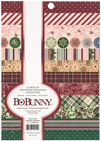 24 Designs//2 American Crafts BoBunny Single-Sided Paper Pad 12X12 48//Pkg-Christmas Treasures
