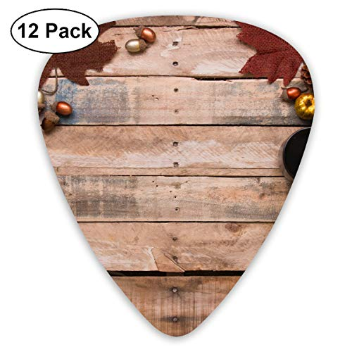 Happy Thanksgiving Acorns Coffee Cup Pine Cones Vintage Wood Table Bendy Ultra Thin 0.46 Med 0.73 Thick 0.96mm 4 Pieces Each Base Prime Plastic Jazz Mandolin Bass Ukelele Guitar Pick Plectrum Display