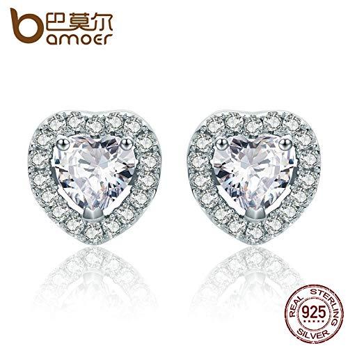 New Arrival 925 Sterling Silver Double Heart Love Stud Earrings for Women Clear CZ Silver Earrings Jewelry Brincos SCE059