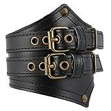 HZMAN Men's Alloy Genuine Leather Belt Leather Buckle Bracelet Cuff Adjustable (Black)