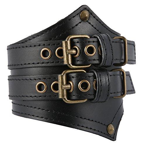 HZMAN Men's Alloy Genuine Leather Belt Leather Buckle Bracelet Cuff Adjustable (Black) by HZMAN
