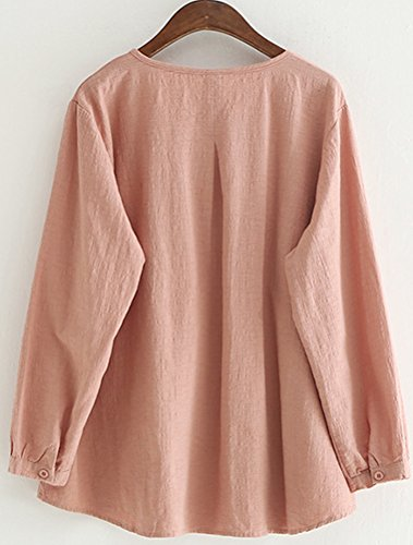 Rose Plisse Col Chic Blouses T Shirt Chemisiers Femme Rond Mallimoda Simple w1vFqF