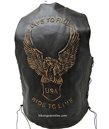 Men's Motorcycle Bikers Retro Black Leather Vest Eagle Embossed Back Side Laces (46 Regular)