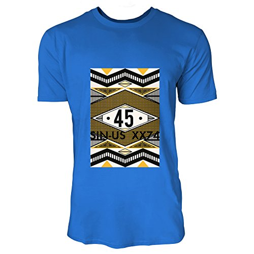 SINUS ART® 80er Jahre Print 45 Herren T-Shirts in Blau Fun Shirt mit tollen Aufdruck