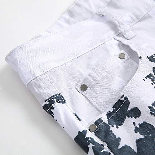 Jeans Cargo Style Stretch Drapeau Slim Skinny Impression A Trou Rétro Américain Homme Biker Straight rzqn1frO