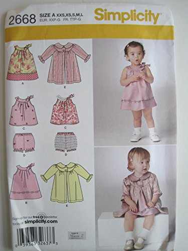 (Simplicity 2668 Sewing Pattern for Infants XXS Xs S M L Sleeveless Yoked Dress. TOP Panties Coat)