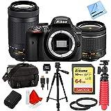 Nikon D3400 24.2MP DX DSLR Camera w/ AF-P 18-55mm VR & 70-300mm Dual Lens 64GB Bundle