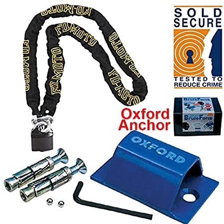 FD-MOTO Oxford OF439 Brute Force Ground Anchor(SOLD SECURE) 1.2M*10mm Motorbike Chain Lock Motorcycle Padlock Touch Global Ltd