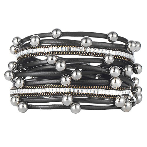 Women Men Multilayers Silver Beads Leather Bracelets Fashion Charm Bracelet Wrap Cuff for Mother's Day Gift (Girl Bracelet Leather Bracelet)
