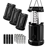 Etekcity LED Lantern Camping Portable Flashlights with AA Batteries& Fire Starters, Upgraded Magnetic Base and Dimmer Button- Collapsible Survival Lights for Emergency, Hurricane, Storm, Outage