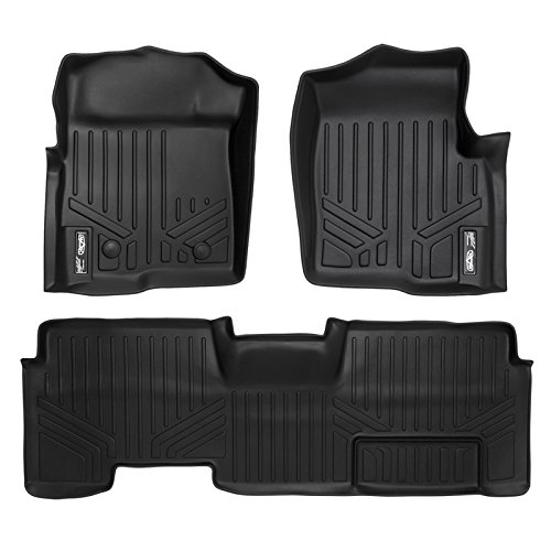 MAXFLOORMAT Floor Mats for Ford F-150 SuperCab With Flow Center Console (2011-2014) Complete Set (Black)