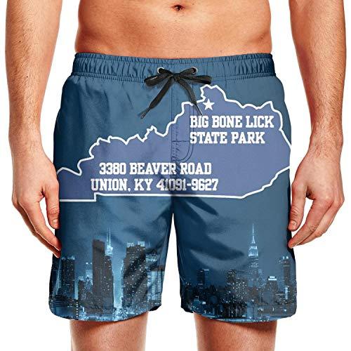 Men's Cool Men's Swimwear SkateBIG Bone Lick Kentucky Home Summer Beach Shorts