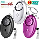 Personal Alarm Rinzym Attack Alarm - 3 Pack【Self Defence】 Mini Security Alarms Keychain with LED Flashlight, Police Approved 140DB Loud Safety Panic Attack Rape Alarms for Women Kids and Night Worker