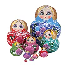 10PCS Hand Painted Flower Wooden Russian Nesting Dolls - Colorful