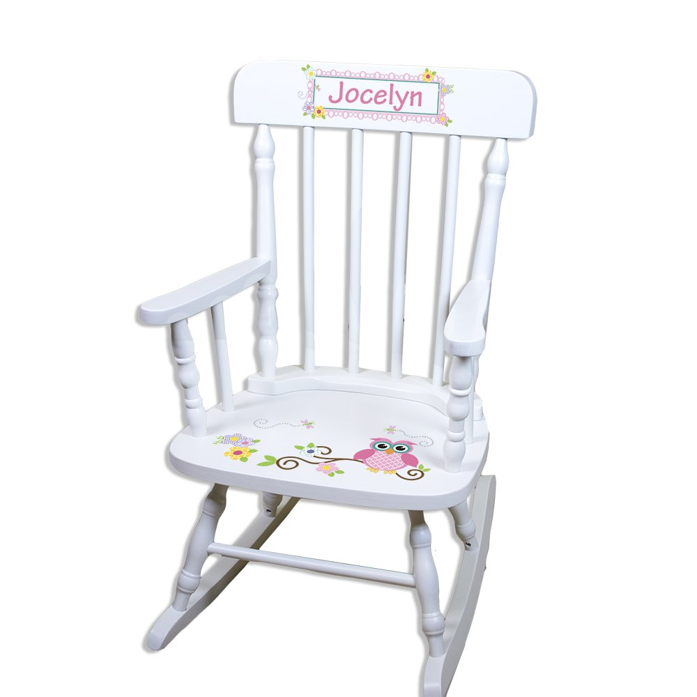 Children's Personalized White Pink Owl Rocking Chair
