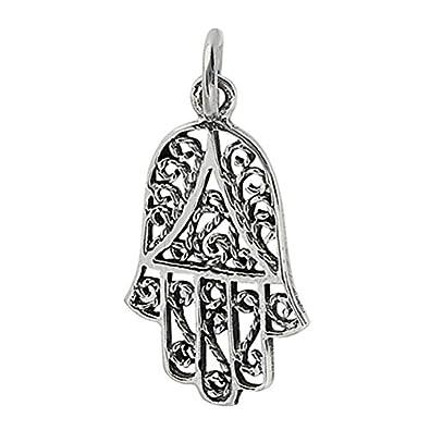 Amazon sterling silver filigree hamsa hand of fatima charm sterling silver filigree hamsa hand of fatima charm pendant mozeypictures Gallery