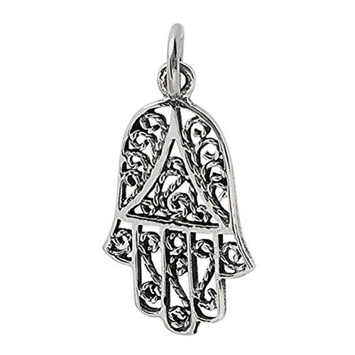 Amazon Sterling Silver Filigree Hamsa Hand Of Fatima Charm
