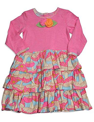 Baby Lulu - Baby Girls Long Sleeve Ava Mushroom Dress, Pink, Multi - Boutique Lulu Baby Dress
