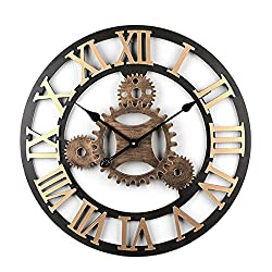 Haoun Oversized wall clock 23 Inch, quiet clocks no ticking noise, Wood Wall Clock Vintage Battery Operated Silent Large Decorative for Kitchen Living Room