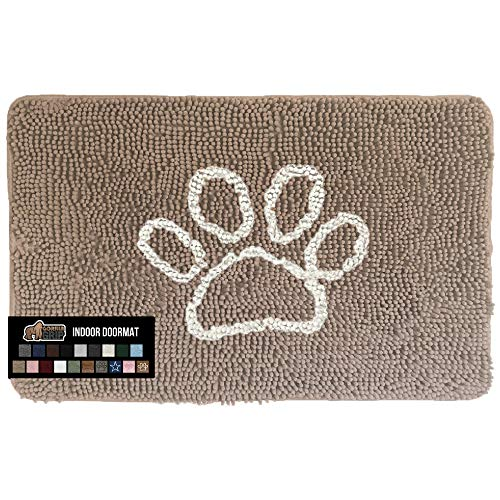 Gorilla Grip Original Indoor Durable Chenille Doormat, 30x20, Absorbent, Machine Washable Inside Mats, Low-Profile Rug Doormats for Entry, Mud Room, Back Door, Great for Dogs, Pets, Paw Beige Ivory