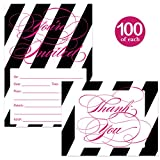 Striped Invitations ( 100 ) & Thank You Cards ( 100 ) Matching Set with Envelopes All Occasion Classic Bold Write In Guest Invites & Folded Gift Thank You Notes Birthday Grad Party Great Value Pair