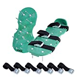 Ohuhu Lawn Aerator Shoes, Spikes Aerator Sandals with Metal Buckles and 3 Adjustable Straps, One Size Fits ALL for Aerating Your Lawn or Yard