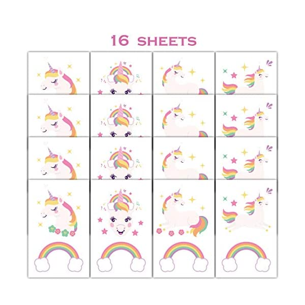 Gooji Unicorn Temporary Tattoos (16 sheets, 32 tattoos) Party Favors and Supplies for Children's Birthday | Fake, Non-Toxic, Skin Safe | Bright, Colorful Designs for Kids, Adults | Easily Removable 7