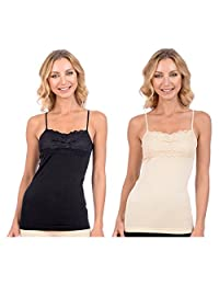 Patricia Lingerie Women's Elegant Tank Top Cami w/ Adjustable Straps and Lace