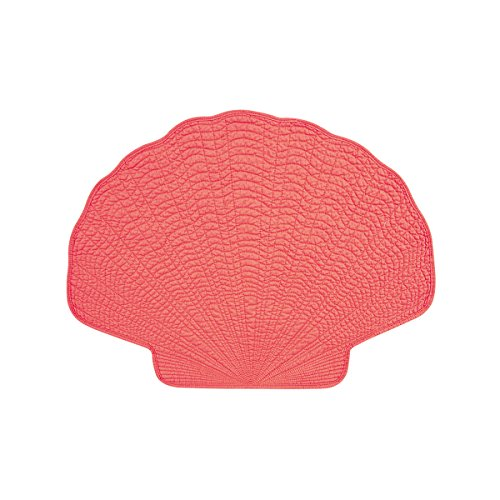 """Set of 4 PCS Quilted,14"""" x 20"""" Shaped Placemats, Coral Shell"""
