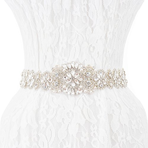 Wedding Sash Bridal Belts, Crystal Wedding Sashes Bridesmaid Belt for Prom Party by Shallylu