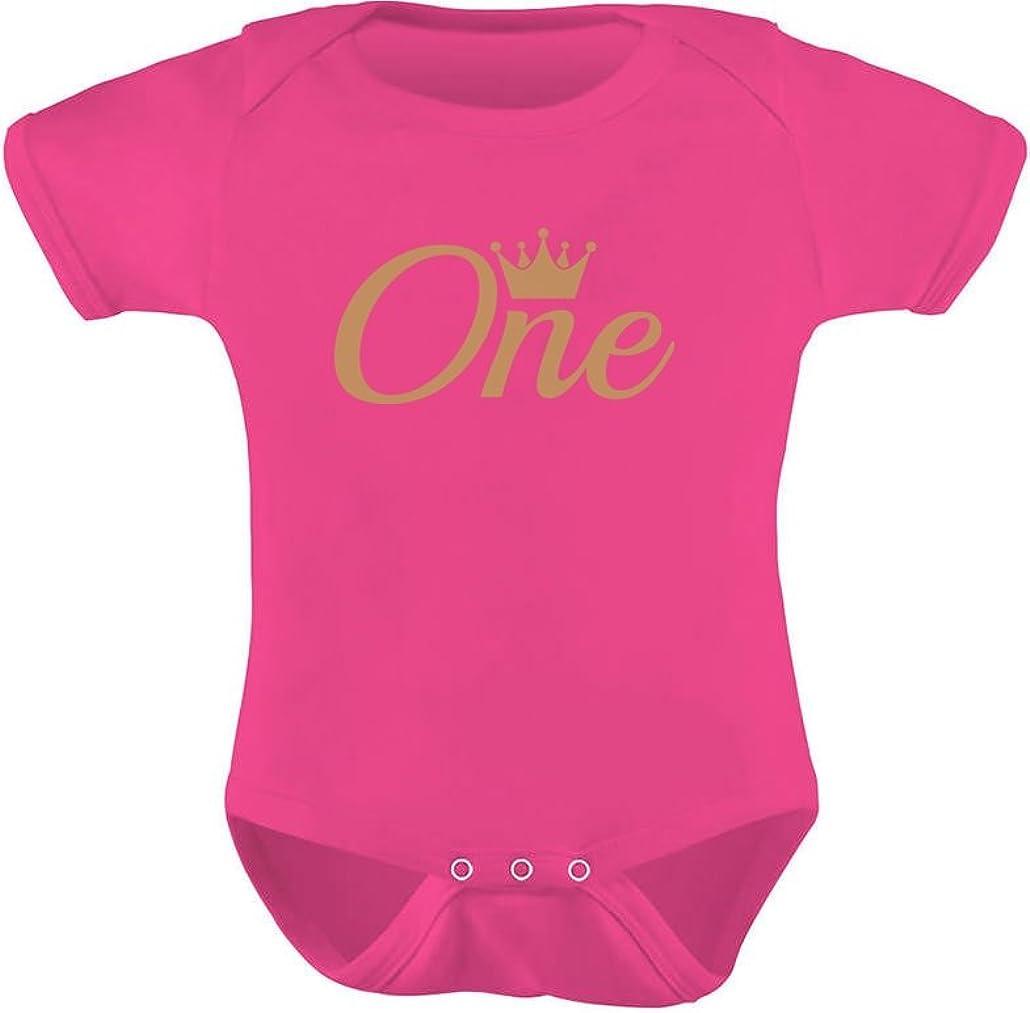 Tstars Baby Girl//Boy First Birthday Gift One Year Old Birthday Crown Baby Bodysuit