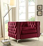 Iconic Home Da Vinci Accent Club Chair Velvet Button Tufted with Silver Nail Head Trim Silvertone Metal Y-Leg, Modern Contemporary, Red