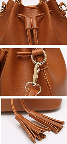 Bag Body Fashion Cross Daily Black Tote Leather Shopping Bags PU Perfect Bag Synthetic Design Pocket Work Tassel Shoulder Handbag Women and Life for Ladies Leather Drawstring Katech with 4zZqfOZ