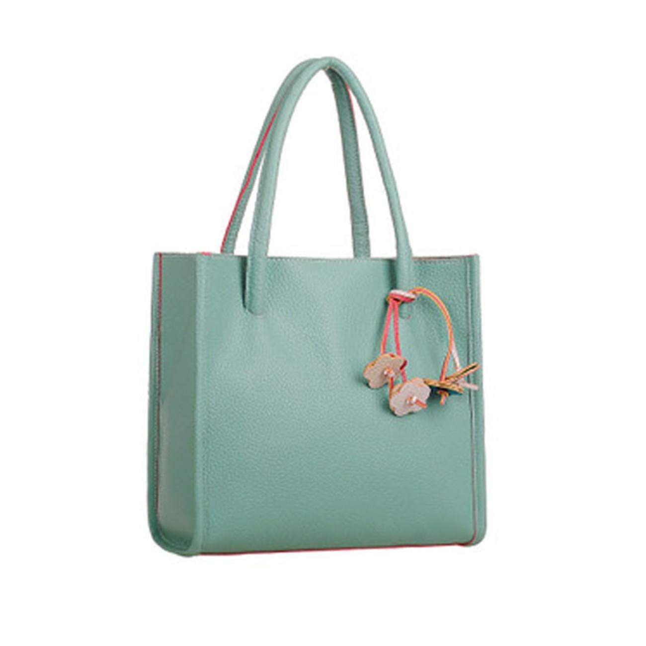 Big Sale! Fashion Elegant Girls Handbags PU Leather Shoulder Bag Clutches Candy Color Flowers Women Totes Purse (Green)