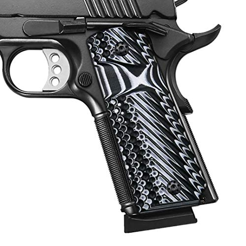 Cool Hand 1911 Grips,Full Size(Government/Commander), OPS Texture,White/Black G10, Big Scoop, Ambi Safety Cut