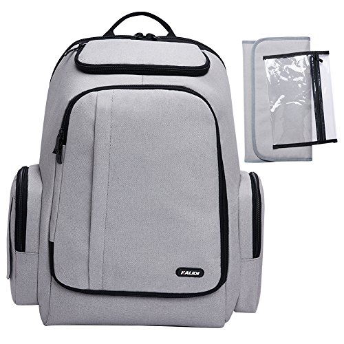 KALIDI Diaper Bag Backpack Nappy Bag with Stroller Straps,Changing Pad,Wet Dry Bag for Mom and Dad (Grey)