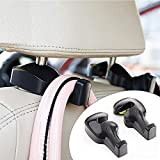Inditradition Universal Car Back Seat Headrest Hook | Hanging Holder for Purse, Bags, Polybags, Handbags, Groceries (Pack of 2) (Black)