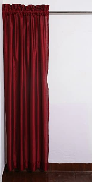 Amazon.com: Red Rod Top Faux Silk Dupioni Curtains with Thick ...
