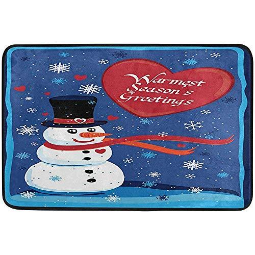 (CdVeK9ca Warmest Seasons Greetings Outdoor Door Mats Shoes Scraper 23.6x15.7 inch Front Entrance Outside Winter Snowman Snowflake Non-Slip Welcome Doormat)