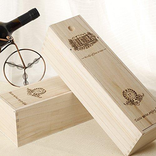 ALXDR 2 Unids Vino Retro Caja De Madera Botella Única Paulownia Vino Caja De Almacenamiento De Viaje Portador De Vino...