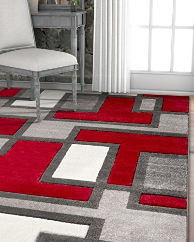 Rug Geometric Area Modern Contemporary (Uptown Squares Red & Grey Modern Geometric Comfy Casual Hand Carved Area Rug 5x7 ( 5'3