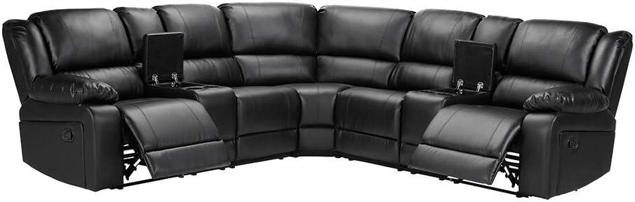 Anshunyin Sectional Sofa Power Motion Sofa Living Room Sofa Set Reclining Corner Sectional Sofa with Cup Holder & USB Dock, Black Leather